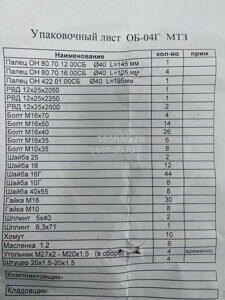 Упаковочный лист ЗИП ОБ-04